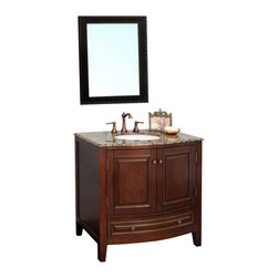 Bellaterra Home - 36 in Single sink vanity-wood-dark walnut - This transitional cabinet style single bathroom vanity is designed to create a completely stylish look in your home. It is compact enough for finding a space in your home. You can easily place it in your large bathroom or in any other room. This wooden cabinet with its  rich walnut finish is perfectly created to fit in any home decor. The cabinet is construction with solid birch wood and finished in white finish. It is carefully finished in multiple layer of top coat to endure water proof surface to withstand humidity in bathroom. Birch + plywood