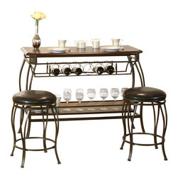 Cramco - Cramco Warner 3-Piece Pub Table Set in Bronze and Chocolate - Features: