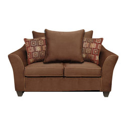 Chelsea Home Furniture - Chelsea Home Zoie Loveseat in Denver Black/Delray Camel/Leopard Gold - Kendra loveseat in Victory Chocolate/ Brancusi Ruby with Victory Sepia Welt belongs to Liberty collection by Chelsea Home Furniture.
