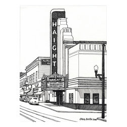 Haight Theater, San Francisco Artwork - Pen and Ink drawing by Craig Baxter