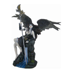 Gothic Fallen Angel With Spear Statue Dark Goth - Made of cold cast resin, this incredibly cool figurine of a sexy Gothic Dark Angel in a black dress, holding a spear in her right hand, is a great gift for any fantasy art collector. Measuring 8 inches tall, 6 inches wide and 5 inches deep, the detailing is incredible, from the feathers on her wings to the water coming from the gargoyle downspout she`s resting on, and is hand painted. She`ll make a great addition to your home.
