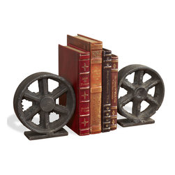 Interlude - Barco Wheel Bookends - With the look of raw iron, these wheel bookends invite an industrial vibe to your bookcase. The substantial size, antique iron finish and rustic look of these decorative bookends harmonize with your age worn books, but they'll look equally at home next to your collection of au courant fashion magazines.
