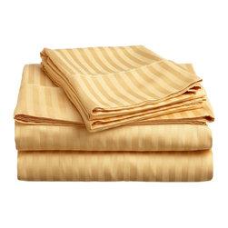 400 Thread Count Egyptian Cotton Full Gold Stripe Sheet Set - 400 Thread Count Egyptian Cotton Full Gold Stripe Sheet Set