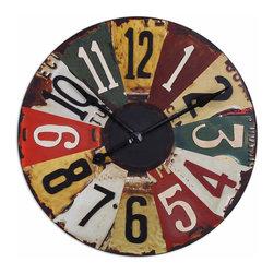 Uttermost - Uttermost 06675 Vintage License Plates Wall Clock - Uttermost 06675 Vintage License Plates Wall Clock