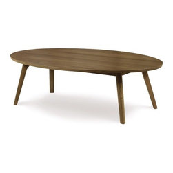 """Copeland Furniture - Catalina Coffee Table - Combining the clean, unadorned lines of the International Modernists with organic and geometric forms, the Catalina Collection is suggestive of the works of America's Mid-Century Modern designers. All pieces are crafted in solid American black walnut or maple hardwood. Features: -Clear finish that is silky, smooth to the touch and still tough enough to stand up to the wear and tear of daily family activities. To preserve the beauty of the finish, simply clean the surface of the furniture with a soft damp cloth and then dry it thoroughly. Care over the years to come will not require oil, polishes, or cleaners..-Natural hardwoods have specific characteristics that make them warm and appealing to the eye. Swirls, knots and burls are some characteristics that contribute to the natural beauty of finely crafted hardwood furniture. Hardwoods oxiodize, or change color, from exposure to direct light. The color of the wood will deepen over time and take on a warm glow and soft patina..-Collection: Catalina.-Distressed: No.-Country of Manufacture: United States.Dimensions: -Dimensions: 13.75-16.75"""" H x 48"""" W x 28"""" D.-Overall Product Weight: 40 lbs."""