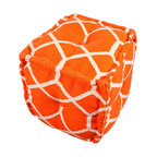 Cadiz Orange Pouf - The modern Cadiz square pouf is hand woven from 100% cotton. The casual pouf design uses strong simple geometric shapes in orange and natural. Made in India.