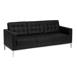 "Flash Furniture - HERCULES Lacey Series Contemporary Black Leather Sofa with Stainless Steel Frame - This attractive black leather reception sofa will complete your upscale reception area. The design of this sofa allows it to adapt in a multitude of environments with its button tufted cushions and stainless steel frame.; Lacey Series Reception Sofa; Made of Eco-Friendly Materials; Black Leather Upholstery; Button Tufted Seat and Back; Fixed Seat and Back Cushions; Foam Filled Cushions; Stainless Steel Frame Finish; Assembly Required: Yes; Country of Origin: China; Warranty: 2 Years; Weight: 112 lbs.; Dimensions: 32""H x 80""W x 31""D"