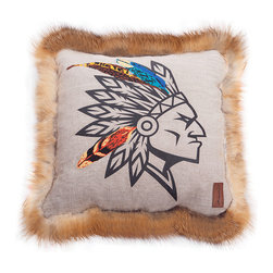 INUKT.com - Yepa - Linen, fox fur and flamboyant embroidered feathers make for a very luxurious pillow that plays with different textures and will upgrade your leather couch. This wow-worthy pillow embodies the craft-chic spirit of INUKT.
