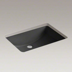 "Kohler - Ladena 21"" x 14"" Undermount Bathroom Sink - The Ladena bathroom sink is the most spacious undercounter Kohler model. This sink has the benefits of durable vitreous china construction. Intended for use with vanities and console tables. This sink features a smooth glazed rim. Available in a variety of appropriate colors, this versatile design would be a great addition to virtually any decor. Features: -Available in the following finishes: almond, biscuit, black black, cream city, ice grey, innocent blush, mexican sand, navy, sandbar, seafoam green, skylight, tea green, timberline, thunder grey, white -No faucet holes -Smooth glazed rim -Includes cut-out template -Includes 52047 clamp assembly -Supplied basin clamp assemblies require 2.5 cm minimum countertop thickness. Installer must supply anchors for thinner countertops -ADA-compliant when installed in a 21"" minimum depth countertop -Water depth: 4.63"" -Interior dimensions: 20.38""W x 13.5""D -Overall dimensions: 8.13"" H x 23.25"" W x 16.25"" D"