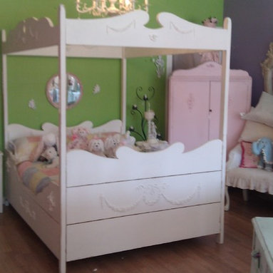 Vintage Canopy Bed Frame White Distressed - This bed was handmade of pine. I have added tons of appliques featuring cherubs, wreaths and swags. Painted white and distressed