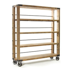 Rolling Study Bookcase - Keep your books handy with this reclaimed wood and iron rolling study bookcase from French country furniture collection. It features a natural finish that makes it an ideal piece to be kept in study or library.