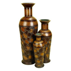 Benzara - Metal Vase - Set of 3 - The small spaces in office and home filled with nice looking sculptures support the interior decoration in great way. Stores dealing in home decor and furnishing products, offer wide range of small sized table decor accents. 41720 Metal VASE Set of 3 is one of those.