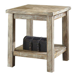 "Famous Brand Products - 24"" Height x 22"" Width x 22"" Depth Rustic - The Rustic Accents table is designed with the outdoors in mind. Its chalky bisque finish paired with an antiquing effect and stacked top design make it the perfect piece for any room. Function, simplicity, and style all in one!"