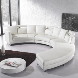 Leather Sofas - Circular design white leather sectional sofa by Beliani