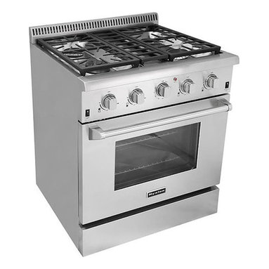 """Cosmo Kitchen - 30"""" Professional Style Freestanding Stainless Steel 4 high Powered Gas Burners - Let this hot new gas range help you create meals like a professional chef. For those with discriminating tastes, this 4.2 cubic foot oven has the space to get it all done and the power to get it done fast. The freestanding gas range features 4 high powered gas burners which allow you to cook from a high heat for boiling, frying or searing to a low simmer for the most delicate sauces. With its classic stainless steel body and modern black finishes this freestanding gas range is designed to perform as well as it looks."""