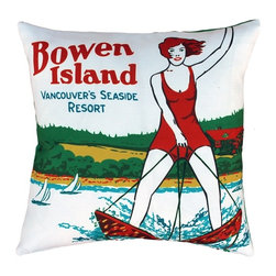 Pillow Decor - Pillow Decor - Bowen Island Outdoor Throw Pillow - From the Museum of Vancouver's Retail Collection. The design on this colorful indoor/outdoor throw pillow is based on an early Bowen Island tourism brochure. The pillow is made from a soft, but durable indoor/outdoor fabric.