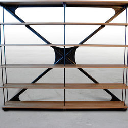 "Unique Industrial Shelving - This is Brandner Design's ""X"" Shelf. A hand made, freestanding sturdy adjustable shelf unit. Made with steel tube and hard wood shelves. This shelf is available in many sizes and can be shipped anywhere in the USA or Canada."
