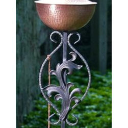 """Passion Torch Brushed Copper-SS-09P - Spirit Stakes™ Torches add a dramatic focal point for entertaining outdoors with """"flare""""! This Passion torch is crafted in Brushed Copper and includes a long-lasting fiberglass wick and Copper snuffer. Large: 14 1/2"""" W x 72"""" H, holds 16 oz. for approximately 24 hours burn time. Medium: 8"""" W x 72"""" H, holds 8 oz. for approximately 12 hours burn time. The stakes are made of durable hand-forged iron which come apart for easy shipping, assembly and storage. As part of the Spirit Stakes Collection you can create unique garden structures and encourage climbing plants by combining with a Hoop or Heart trellis – sold separately."""