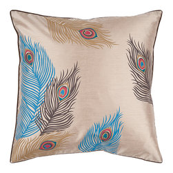 None - Lindy 18-inch Poly Decorative Pillow - Use this 18-inch decor pillow to accent furnishings. This pillow has a very delicate display and design and showcases the beauty of peacock feathers in its prints. Vivid colors like red and blue stand out against the pillow's gold background.