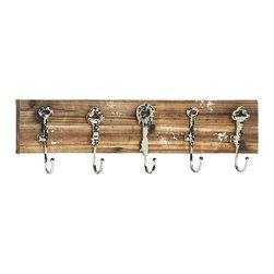 Woodland Imports - Vintage Style Wood Wall Panel Five Metal Key Shaped Accessory Hooks Decor - Vintage style wood wall panel with rustic look and five metal skeleton key shaped accessory hooks home decor