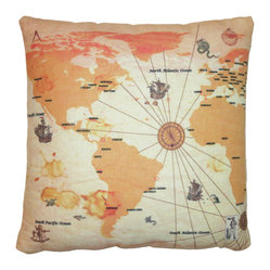 Aroopy - Old World Map Throw Pillow - Ready your compass and set a course for cuteness. This charming throw pillow lends an air of the curiosity shop wherever you put it.