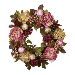 24-inch Peony Hydrangea Wreath - This wreath has all the elements needed to create a luxurious feel.