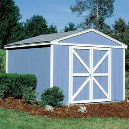Handy Home Somerset Storage Shed - 10 x 8 ft. - You could go with one of those backyard Tupperware sheds, but why not match the classic style of your home with the gable style of the Handy Home Somerset Storage Shed - 10 x 8 ft.? This solid wood structure has 6-foot high side walls with an 8-foot peak in the center for tall storage. The pre-hung double doors, with a 64W x 72H-inch opening, can be centered or offset for flexible placement to meet your storage needs. The exterior of this shed is pre-primed and ready to be painted, and to further customize it to your needs, this building can be purchased with or without a floor. All the necessary hardware and detailed instructions are included, so you're ready to get started as soon as it arrives. About Handy HomeSince 1978, Handy Home has been making it easy and affordable for their customers to add storage sheds, gazebos and playhouses to their homes. As North America's largest producer of wooden storage and recreational building kits, Handy Home makes durable structures that require no sawing or drilling and can be delivered when and where their customers need them.