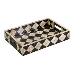 Imax - IMAX 19932 Lanta Bone Inlay Tray - The white bone and black inlaid diamond pattern of the Lanta bone inlay tray evokes the nostalgic feel of a traveling circus.  For a coordinated look, display with the Lanta bone inlay boxes and photo frames.