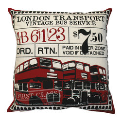 """KOKO - Ticket Pillow, London, Red, 20"""" x 20"""" - If you can't get your passport stamped this year, at least you can imagine a tour of London with this pillow. The iconic double-decker buses are a classic image for any worldly dreamer and the vintage feel of the first-class ticket graphic adds a great touch."""