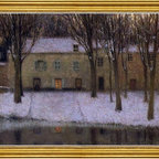 """Henri Le Sidaner-18""""x24"""" Framed Canvas - 18"""" x 24"""" Henri Le Sidaner Little place by the river framed premium canvas print reproduced to meet museum quality standards. Our museum quality canvas prints are produced using high-precision print technology for a more accurate reproduction printed on high quality canvas with fade-resistant, archival inks. Our progressive business model allows us to offer works of art to you at the best wholesale pricing, significantly less than art gallery prices, affordable to all. This artwork is hand stretched onto wooden stretcher bars, then mounted into our 3"""" wide gold finish frame with black panel by one of our expert framers. Our framed canvas print comes with hardware, ready to hang on your wall.  We present a comprehensive collection of exceptional canvas art reproductions by Henri Le Sidaner."""