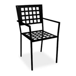 "HomeCrest - Homecrest Manhattan Cafe Chair - Stackable (ZMT-HMC9267) - The Homecrest Manhattan Cafe Black Chair takes its inspiration from contemporary, urban lifestyle and will bring a ""downtown"" vibe to any outdoor living space. This cafe chair is constructed from a solid steel frame that is built to last, and comes with a durable powder coated finish. The Manhattan cafe chair is stackable for easy storage, and has arms for additional support. This chair will complement any of Homecrest's dining tables and with a 15 year warranty you know you'll be able to enjoy your Manhattan cafe chair season after season.  Features:"