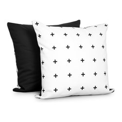 OLLI+LIME - Cross Pillow - Heavyweight cotton pillow in black and white cross design. Contrasting reverse, piping and zipper. Includes down alternative insert.