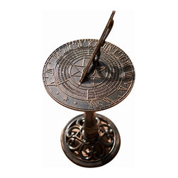 Great Deal Furniture - Antique Design Cast Aluminum Garden Sundial - Never have to wind your clock again....this cast aluminum sun dial is the perfect compliment to any outdoor setting. Made from durable cast aluminum and molded into a gold forged iron finish make for an elegant time keeping piece and great conversation item.