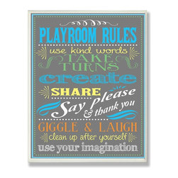 Stupell Industries - New Playroom Rules Gray - Made in USA. Ready for Hanging. Hand Finished and Original Artwork. No Assembly Required. 15 in L x 0.5 in W x 11 in H (3 lbs.)The Kid's Room by Stupell is offering great new wall plaques for the lil' one's.  All plaques are mounted on half inch thick MDF wood and are made in USA!  Featuring original artwork, each plaque comes hand finished with hand painted edges and a sawtooth hanger on the back for instant use.