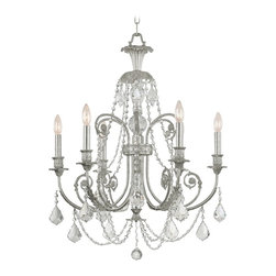 """Crystorama - Crystorama Regis Collection Old Silver 26"""" Wide Chandelier - With plenty of sparkle and ornate detail the Regis Collection has a timeless appeal. Hand-polished crystals dangle from this traditional design creating beautiful prismatic light effects. A wonderful choice from Crystorama. Old silver finish. Hand-polished crystals. Takes six 60 watt candelabra bulbs (not included). 30"""" high. 26"""" wide.  Old silver finish.   Hand-polished crystals.   Takes six 60 watt candelabra bulbs (not included).   30"""" high.   26"""" wide."""