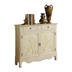 Powell Furniture - 2-Door Hand Painted Console in White Finish - 2 Drawers. Leaf pattern adorns the front. Adds drama and class to any room. Decorative curved bottom adds an extra touch of sophistication. Perfect piece to add to any entryway, hall, bedroom or living area. Single fixed shelf behind the doors. 41 in. W x 11 in. D x 36 in. H