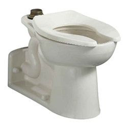 """American Standard - American Standard 3691.001.020 Priolo Universal Elongated bowl, top spud, White - American Standard 3691.001.020 Priolo Universal Elongated bowl only, top spud,  White. This floor-mounted rear outlet flush-o-meter valve toilet features a vitreous china construction, an EverClean surface that inhibits the growth of bacteria, mold, and mildew, a condensation channel, an elongated bowl, a powerful direct-fed siphon jet action, a fully-glazed 2-1/8"""" trapway, a 1-1/2"""" inlet top spud, and 2 bolt caps. This model also features a slotted rim for bedpan holding."""