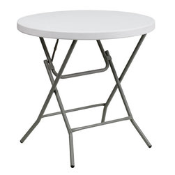 """Flash Furniture - 32"""" Round Granite White Plastic Folding Table - This unique commercial grade table can be used in banquet halls, cafeterias, or in the home. This table is a great solution for temporary seating for gatherings. Flash Furniture's 32 in.  Round Folding Table features a durable stain resistant blow molded top and sturdy frame. The blow molded top requires low maintenance and cleans easily. The table's legs lock in place in a SNAP with the leg locking system for easy set-ups."""