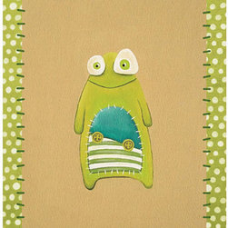 Nursery Art Print, Monsters by Pituda - I wouldn't normally think of monsters as a nursery theme, but this monster is just so stinkin' friendly and cute.