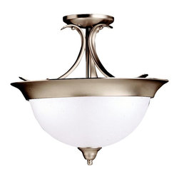 BUILDER - BUILDER Dover Transitional Semi-Flush Mount Ceiling Light X-IN3263 - From the Dover Collection, this Kichler Lighting semi flush mount ceiling light blends classic styling with clean contemporary finishes for an updated look. The etched seedy glass shade is expertly complimented by the Brushed Nickel finish.
