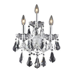 Elegant Lighting - Elegant Lighting 2801W3C/RC Maria Theresa Collection Wall Sconce - Elegant Lighting 2801W3C/RC Maria Theresa Collection Wall Sconce