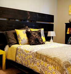 modern bedroom Yellow and Gray Bedroom