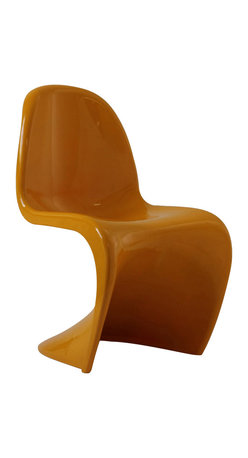 East End Imports - Wavy Yellow Plastic Dining Chair - Sleek and sturdy, rock back and forth in comfort with this injection molded marvel. Constructed from a single piece of strong ABS plastic, the s shaped chair can be found in many fashionable settings. From frozen yogurt and ice cream shops, to dining areas in need of a little zest, the design is versatile, fun and lively. Surprisingly cushy, choose from a selection of vibrant colors that wont fade over time.