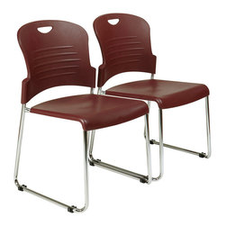 Office Star - Work Smart STC Series STC866C30-4 Stack Chair w/ Sled Base - Plastic Seat & Back - STC866C30-4 Stack Chair w/ Sled Base - Plastic Seat & Back - Burgundy belongs to STC Series Collection by Work Smart Stack Chair with Sled Base with Plastic Seat and Back. Burgundy. 30 Pack. Plastic Seat and Back. Available in 2 (STC866C2, 4 (STC866C4) or 30 (STC866C30) Pack. Stacking Dolly Available (DOL8300). 30 Pack ships with Dolly. Chrome Finished Steel Frame. Office Chair (30)