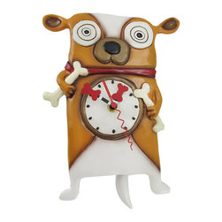 Allen Designs - Allen Designs 'Roofus' the Dog Wall Mounted Pendulum Clock - This crazy eyed pup is super stoked, he's got a bone in each paw that he just can't wait to bury in the yard! Made of cold cast resin and lovingly hand painted, this piece measures 10 1/2 inches tall, 8 1/4 inches wide, and 2 1/2 inches deep. Attention to detail is what makes each of these clocks special, and the little bone shaped hands and wagging tail pendulum add a whimsical quality to this piece of art. The clock face measures 3 inches in diameter, features quartz movement and requires 1 AA battery (not included). It mounts to the wall with a single nail or screw, and makes a great gift for dog lovers.