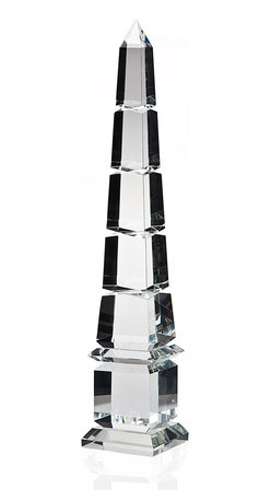 """Godinger Silver - 24"""" Cut Obelisk - These are architectural models, once used for an understanding of dimensional perspective are now appreciated for their artistic beauty. Measures 24 """" high."""