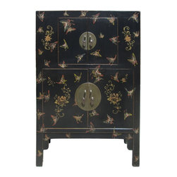 Golden Lotus - Chinese Black Color Butterflies 2 Shelves Storage Cabinet - This is an old cabinet restored with new black lacquer surface and pattern of golden mixed color butterflies.