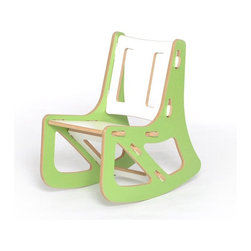 Sprout - Sprout Childrens Rocking Chair - Green and White - KR001-GRN_WHT - Shop for Childrens Rocking Chairs from Hayneedle.com! Even kids need a little time to relax and the Sprout Childrens Rocking Chair - Green and White is just the chair to help them do that. This contemporary rocker snaps together in seconds all with no tools. The seat back and brace can be swapped with other chairs rockers or cubbies to change the style color or even the function of the furniture. Assembly is so easy even your kids can do it. Made of CARB compliant MDF - a sustainable pre-consumer recycled wood product - the Sprout Childrens Rocking Chair is eco friendly furniture solution your children will love. Weight Limit: 150 lbs. Seat Height: 10 in.About Sprout Kids FurnitureDesigned to be more than just furniture Sprout children's furniture prefers to be known as a medium of creativity a medium of discovery. Sprout designs furniture that's easy to assemble and goes together in minutes without tools or hardware. Interchangeable modular components let you simply snap parts together and even rearrange. A patent pending joint system is built right into the parts. Individual parts can be swapped to change up the style or even the function of your furniture. Even moving is easy! This furniture is collapsible so you can build it when you need it and store it when you don't. You could fit an entire playroom in the back of your car. This furniture is simple to use and simple to manufacture. With the environment as a priority parts are optimized to reduce waste when cut and they pack flat reducing shipping costs. All Sprout products are made from pre consumer recycled wood and made in the U.S.A.