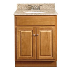 "SUNCO - VANITY 2 DOOR 24""X18"" OAK - 24""W X 18""D X 32-1/2""H Oak Vanity. Ready-to-assemble. 2 door. Solid wood frame. Plywood side and back panels. Solid wood doors and drawer fronts. Raised square panel doors. Brushed nickel knobs included. Knobs require installation. Standard overlay 2 way adjustable hinges. KCMA certified."