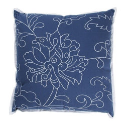 "Rizzy Home - T-2487 18"" Decorative Pillow in Dark Blue (Set of 2) - Distinctive and elegant, these decorative accent pillows are versatile enough to be used in any room of the home. Rich hues and textural accents will allow you to add your signature touch and create your own style. Features: -Color: Dark blue. -Material: 100% Cotton. -100% Siliconized polyester fiber filler. -Zippered pillow cover with poly fill insert. -Machine wash separately."